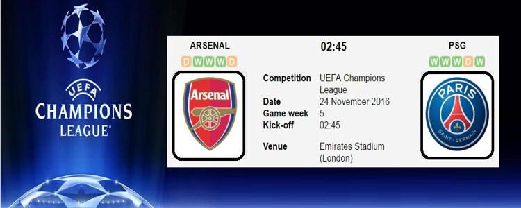 Prediksi Arsenal vs Paris Saint Germain 24 November 2016