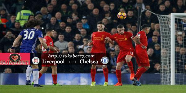 Hasil Pertandingan Liverpool vs Chelsea Skor Imbang 1-1